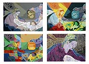 Four Panel Acrylic Color Studies - Lumiere du Monde (Boucher)